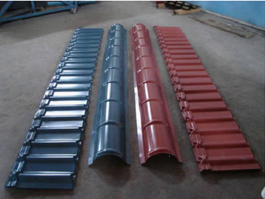 Automatic Roof Ridge Cap Tile Cold Roll Forming Machine / Glazed Aluminum Metal Rib Tile Forming Machine