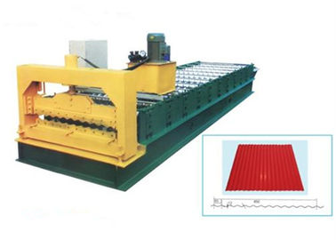 China Steel Galvanized Roof Roll Forming Machine For Making 0.3 - 0.8mm Thickness Tile supplier