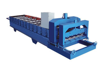 China 380V 60HZ Blue Glazed Tile Roll Forming Machine Making 828mm Waveform Tile supplier