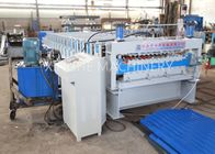 PLC Automatic Zinc Roofing Roll Forming Machine / Corrugated Roof Sheet Making Machine