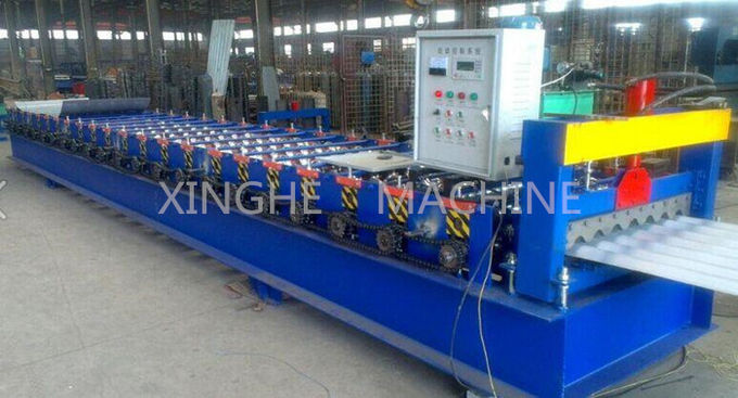 Red Color Cold Roll Forming Machines / Roof Forming Machine With Manual Decoiler