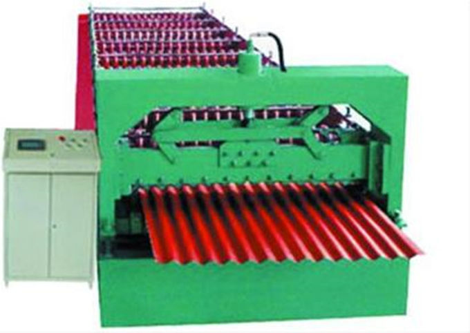 Industrial Glazed Tile Roll Forming Machine With Hydraulic Decoiler Machine
